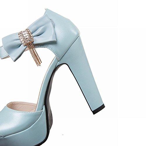 MissSaSa Donna Scarpe col Tacco Sandalo da Sposa (34, Azzurro)