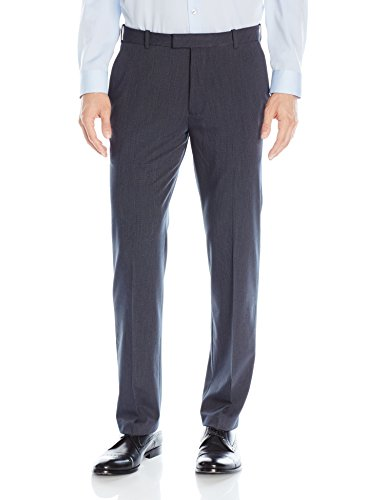 Van Heusen Men's Flex Straight Fit Flat Front Pant, Ash Navy, 34W x 32L ()
