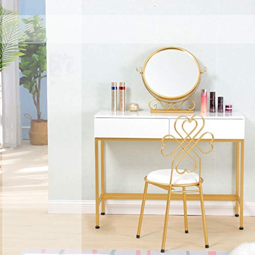 WXF Dressing Table Mirror, Nordic Style Metal Framed Countertop Cosmetic Mirror Rotation Free Standing Bedrooms Furniture Mirror (Size : 30x10x40cm)