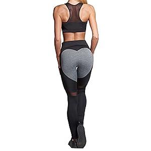 f51f760526 Manluo Womens Loving Heart Shape Yoga Pants Workout Sheer Mesh Leggings