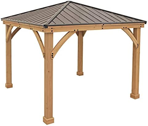 Yardistry 10 x 10 Wood Gazebo with Aluminum Roof