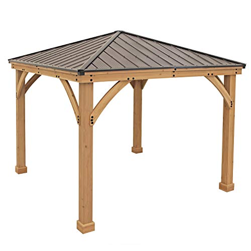 Yardistry 10' x 10' Wood Gazebo with Aluminum Roof (Diy Pergola Patio)