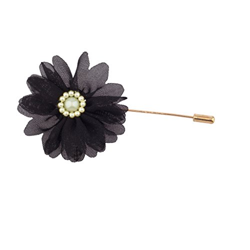 Lux Accessories Fabric Black Flower Floral Pin Brooch Broach from Lux Accessories