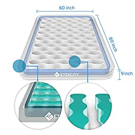 Etekcity Upgraded Camping Air Mattress, Queen Twin Airbed Height 9″, Inflatable Bed Blow Up Mattress Raised Airbed with Rechargeable Pump, 2-Year Warranty, Storage Bag