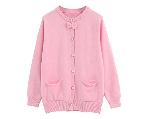 SMILING PINKER Little Girls Crewneck Cardigans Solid Bow Knit Sweaters Button Long (Pink Bow Knit Sweater)