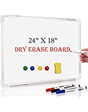 """White Board, 24"""" x 18""""Dry Erase Board Wall Mounted for Teaching or Training, Silver Aluminium Frame Whiteboard with 4 Magnets, 3 Marks and 1 Megnetic Eraser"""