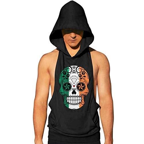 GTGTH Mens Sleeveless Hoodie Tee Irish Flag Skull Fitness Stringer Tank Tops