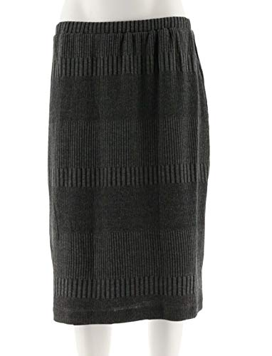 Joan Rivers Wardrobe Builders Textured Knit Slim Skirt Charcoal XL New A221960 ()