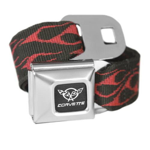 Red Flames Chevy Corvette Seatbelt Buckle Fashion Belt - Officially ()