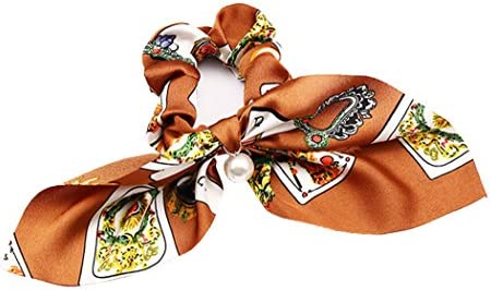 (ミニマリ) minimali シュシュ リボン キレイめ スカーフ パール フェミニン 髪飾り ヘアゴム ヘアアクセサリー (13 オレンジ)