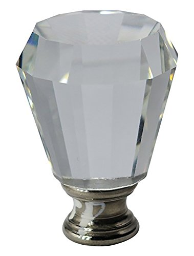Anne Crystal - Urbanest Crystal Anne Lamp Finial, Brushed Steel, 2-inch Tall