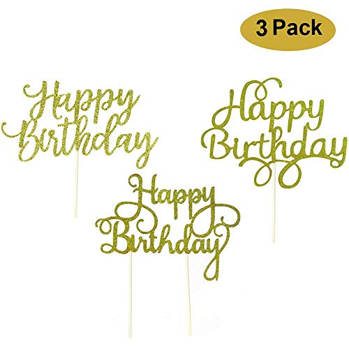 Happy Birthday Cake Topper Decoration Gold Glitter 3 Piece Variety Pack]()