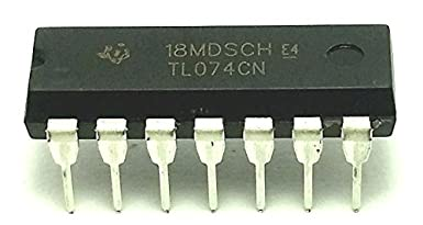 Pack of 20 Texas Instruments TL074CN Quad Low-Noise JFET-Input Operational Amplifier IC /& 14-Pin DIP Sockets with Machined Contact Pins Breadboard-Friendly