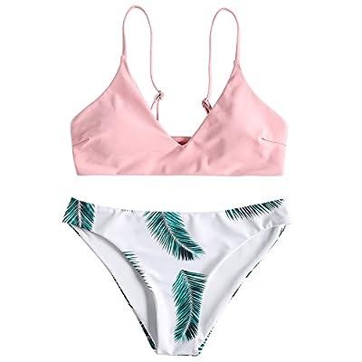 ZAFUL Women's Tropical Leaf Bikini Set Padded Brallete Swimwear V-Neck Bathing Suit