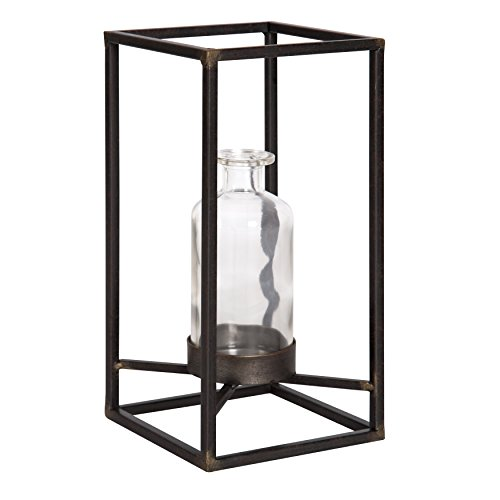 (Kate and Laurel Britt Glass Bottle Vase with 11-Inch Tall Metal Holder for Tabletop, Distressed Bronze)