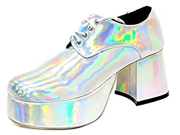 5bb281f56613 Image Unavailable. Image not available for. Colour  ktc Fancy Dress Saturday  Night Fever - Silver Retro 70 s Disco Platform Shoes ...