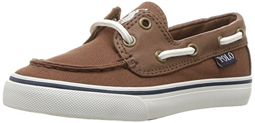 Polo Ralph Lauren Kids Kids' Batten Boat Shoe, Brown Canvas/Tumbled, 11 Medium US Little Kid