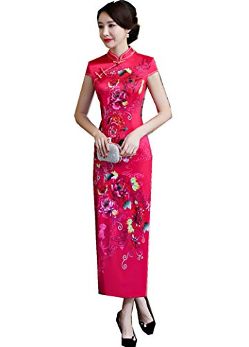 8327 Traditionnelle Robe Qipao Manches Robe Robes National Longue Courtes Cheongsam Faux Robes Femme pour Soie Tendance Chinoise Femme Mince q4UwBntOZ