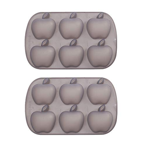 Mold Apple Silicone - Mirenlife 6 Cavity Apple Shape Non Stick Silicone Mold for Cake, Cupcake, Chocolate, Pastry, Muffin, Bread, Big Ice Cube, Soap, and More, Set of 2