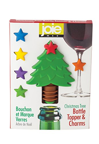 Joie Christmas Tree Wine Bottle Topper and Wine Charm Set, BPA-Free Silicone, 7-Piece - Stopper Tree Wine