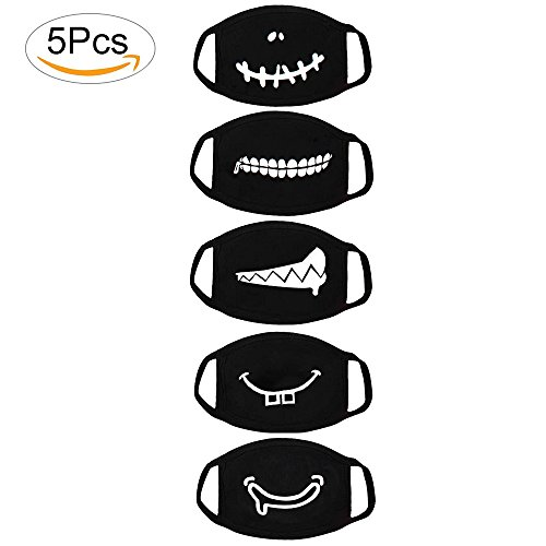 Fomei Top Quality 5 Pack Teeth Pattern Cute Unisex Cotton Blend Anti Dust Face Mouth Mask Black for Man Woman Shipping by FBA