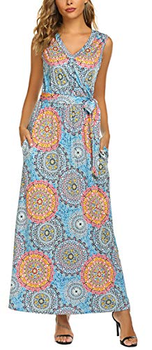 SimpleFun Women's Sleeveless V Neck Floral Racerback Tank Maxi Dresses with Pockets Loose Swing Casual Tunic Beach Long Dress (M, Blue Multi)