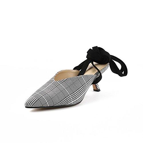 con Slingback Zapatos Tacón Sexy Summer Mujer Shoes New Cordones acentuadas Un Slipper Enrejado bajo de Ladies Spring de Sandalias wzwp7CrFq6