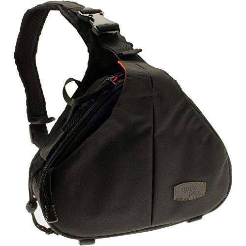Optix Pro Sling Crossbody Water Resistant Shoulder Bag for Nikon DSLR & Bridge Cameras & Lens with Rain Cover and Tripod Holder by Optix Pro