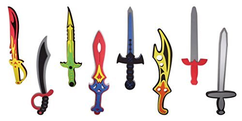 Liberty Imports Foam Swords 8 Pack Weapons Toy Set for Kids + 8 Unique Ninja Pirate Warrior Viking Swords -