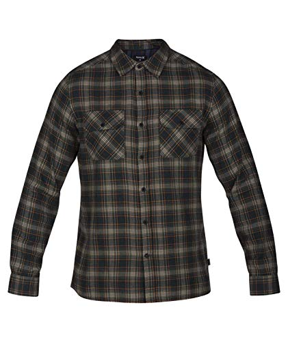 Hurley Men's Long Sleeve Plaid Woven Button Down Shirt, Outdoor Green, M (Best Mens Flannel Shirts 2019)