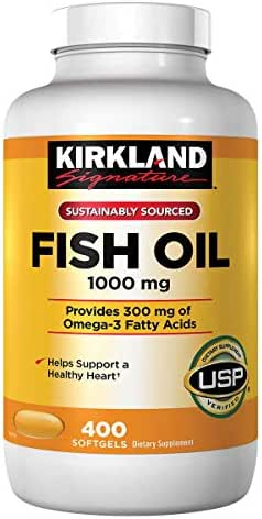 Kirkland Signature Fish Oil Concentrate with Omega-3 Fatty Acids, 1000mg, 800 Softgels