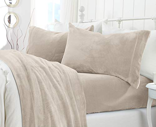 Extra Soft Cozy Velvet Plush Sheet Set. Deluxe Bed Sheets with Deep Pockets. Velvet Luxe Collection (Twin, Light Grey)