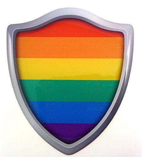 Pride Lesbian Gay Flag Shield Domed Decal 3D Look Emblem Resin car Sticker 2.6