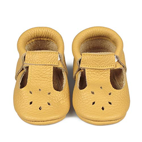 LittleBeMocs T-Strap Baby Moccasins (Italian Leather) Soft Sole Shoes for Boys and Girls   Infants, Babies, Toddlers Yellow