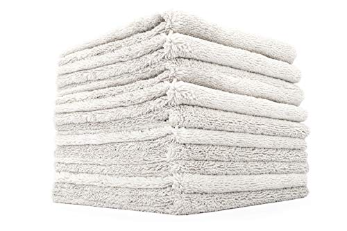 THE RAG COMPANY (10-Pack) 16 in. x 16 in. Professional Edgeless 70/30 Blend 420 GSM Dual-Pile Plush Microfiber Auto Detailing Towels Creature Edgeless (Light Grey)