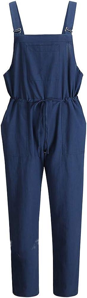 Frauen Retro Latzhose L/ässig Insgesamt Baggy Jumpsuits Morbuy Damen Taschen Playsuit Hose Lange Harem Casual Overalls T/äglichen Einfarbig Trousers Pants