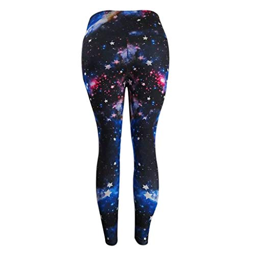 Fitness Pants for Women Casual Starry Sky Print Hollow Out High Waist Fitness Soft Sport Leggings (M, Blue) by FDSD Women Pants (Image #4)