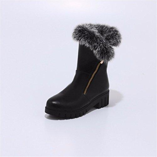 boots lady heel boots tube coarse Fan Han with heel Pu Black big winter Martin apBHnSqE