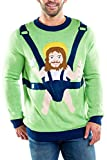 Tipsy Elves Men's Sweet Baby Jesus Christmas Sweater: Small Green