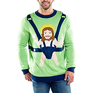 Tipsy Elves Men's Sweet Baby Jesus Ugly Christmas Sweater - Funny Christmas Sweater