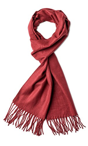 Veronz Super Soft Luxurious Rich Solid Colors Cashmere Feel Winter Scarf (Burgundy) (Mens Dress Scarf)
