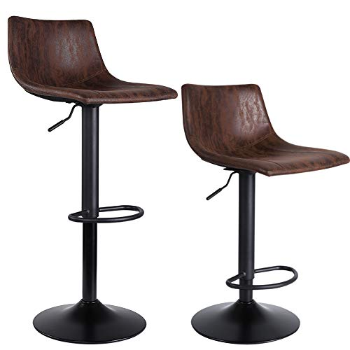SUPERJARE Bar Stools, Swivel Barstool Chairs with Back, Modern Pub Kitchen Counter Height, Set of 2, Retro Brown