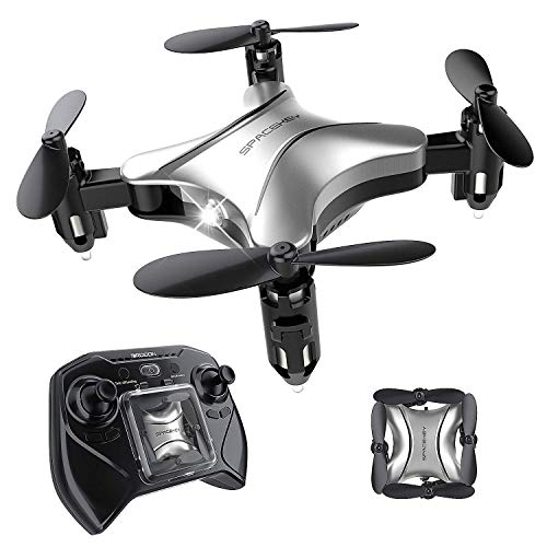 Spacekey Mini RC Helicopter Drone for Kids Quadcopter with Altitude Hold, Headless Mode, One-Key Take-Off/Landing, 3D Flip Function and Foldable Arms, Good for Beginners - Silver ()