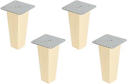 Superelch Juego de 4 Patas para Muebles IKEA Ivar, Patas de Madera Maciza de Haya con Placa de Montaje y Tornillos