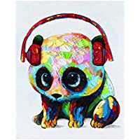 DIRART Senza Telaio DIY Pittura Digitale Headset Panda Animal Fai da Te Digital Painting By Numbers Modern Wall Art Canvas Painting 40X50Cm
