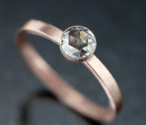 Rare 14k Pink Rose - Rose Cut Moissanite Engagement Ring - 14k Rose or Yellow Gold