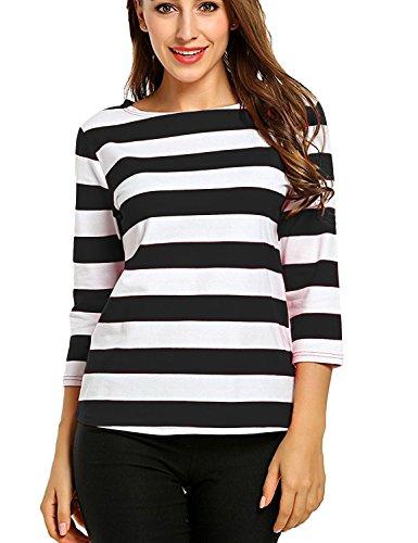 Costume Girl Waldo Where's (Women's Boat Neck Elbow Sleeves Slim Fit Striped Tee Tops Black)