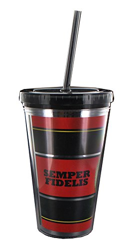 Force 16 Ounce Cup - U.S. Marine Corps Semper Fidelis 16oz Carnival Cup w/Straw