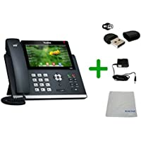 Yealink T48G SIP POE Office Phone Bundle with Wifi Dongle, Power Supply and Microfiber Cloth | Requires VoIP Service - Vonage, Ring Central, 8x8, Mitel, Cloud Services | #YEA-T48G (T48G Wifi Bundle)