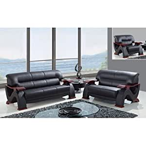 Global Furniture Usa 2033 3 Piece Bonded Leather Living Room Set In Black Kitchen